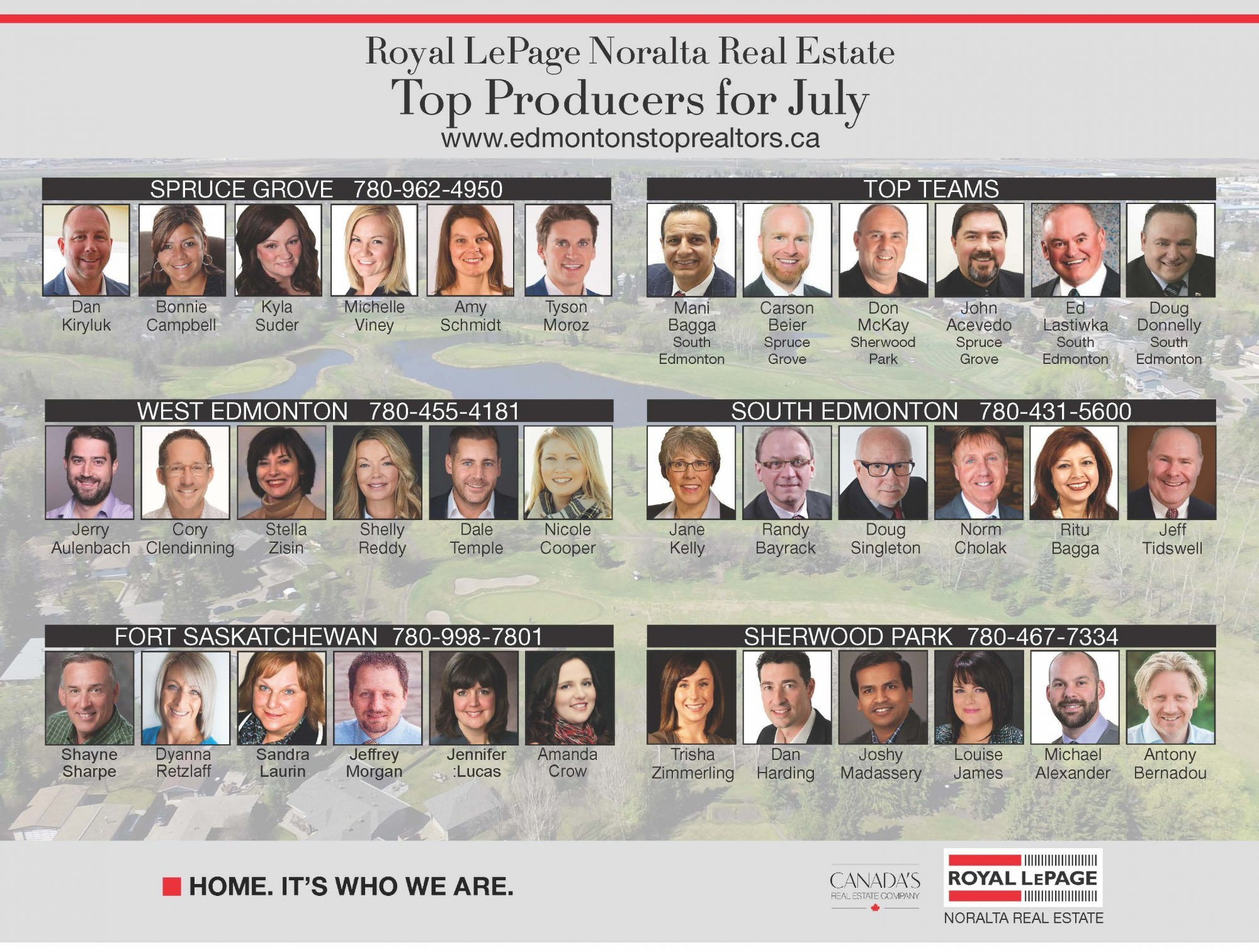 Royal LePage Noralta Real Estate July Top Producers