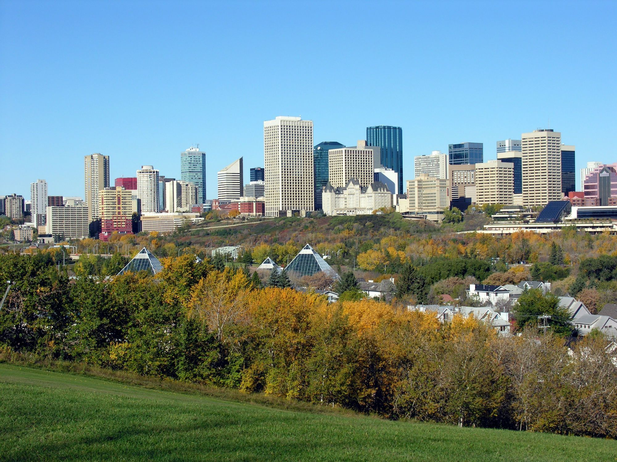 View of downtown Edmonton from Bonnie Doon